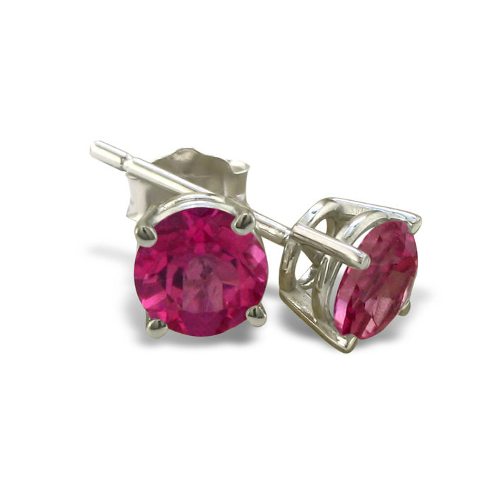 2/3 Carat Pink Topaz Stud Earrings in 14k White Gold by SuperJewe