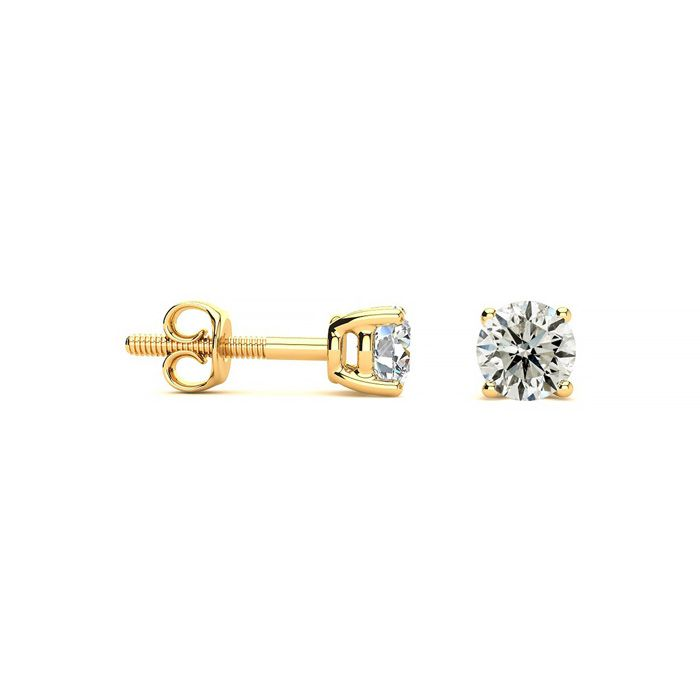 1/3 Carat Diamond Stud Earrings in 14k Yellow Gold, J/K Color, I1