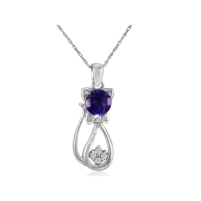Amethyst & Diamond Cat Pendant Necklace in 10k White Gold (2.3 g)