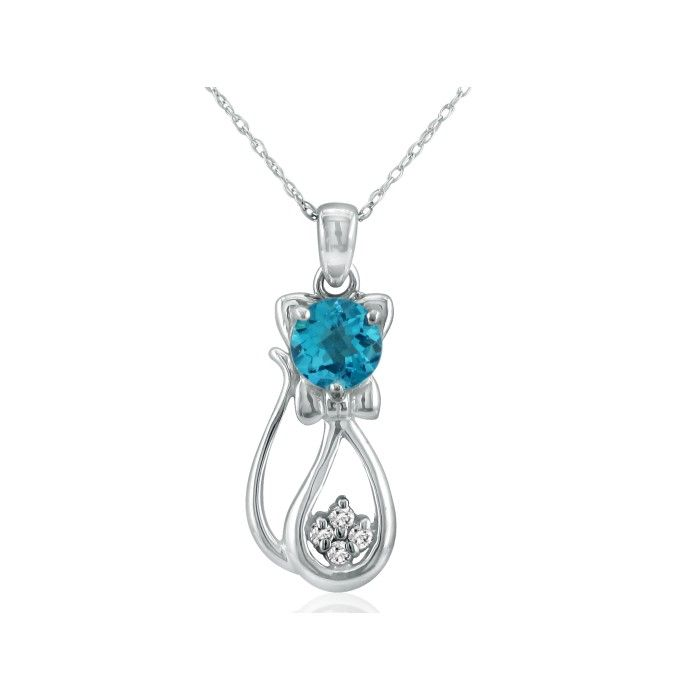 1 Carat Blue Topaz & Diamond Cat Pendant Necklace in 10k White Gold (2.3 g), I/J, 18 Inch Chain by SuperJeweler