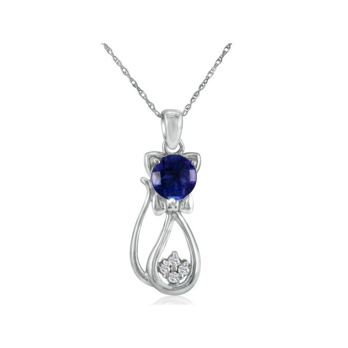 Sapphire & Diamond Cat Pendant Necklace in 10k White Gold (2.3 g)