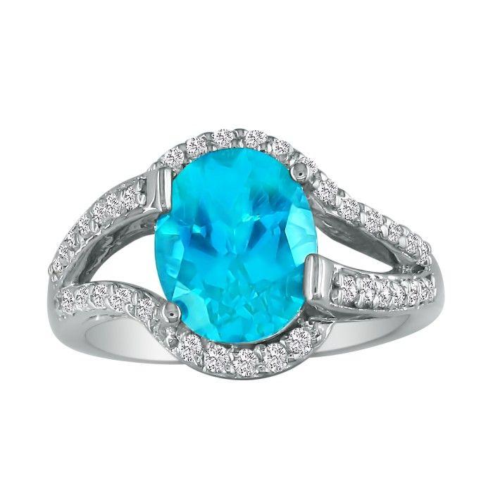 Split Band 3 Carat Oval Blue Topaz & Diamond Ring in 14k White Gold (4.8 g),..