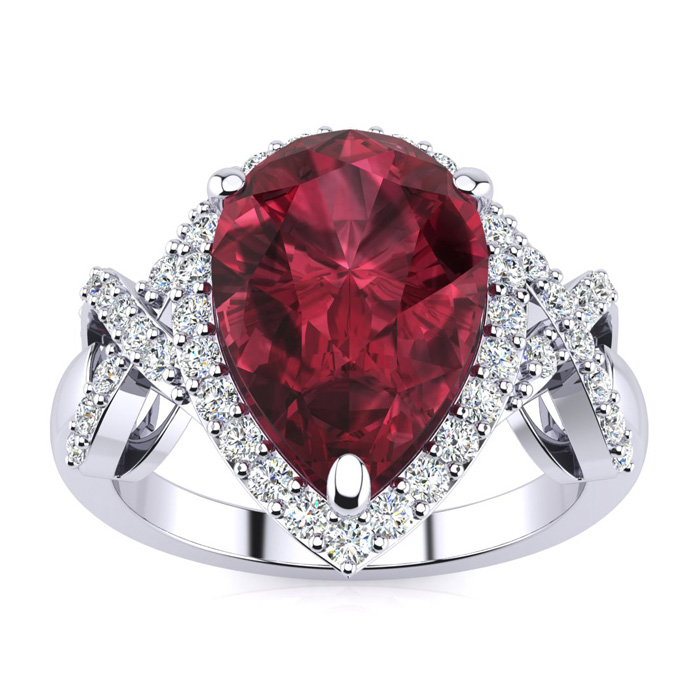3ct Garnet and Diamond Ring With X