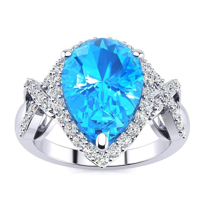 3 Carat Blue Topaz & Diamond Ring w/ X Shank Accents, 14k White G