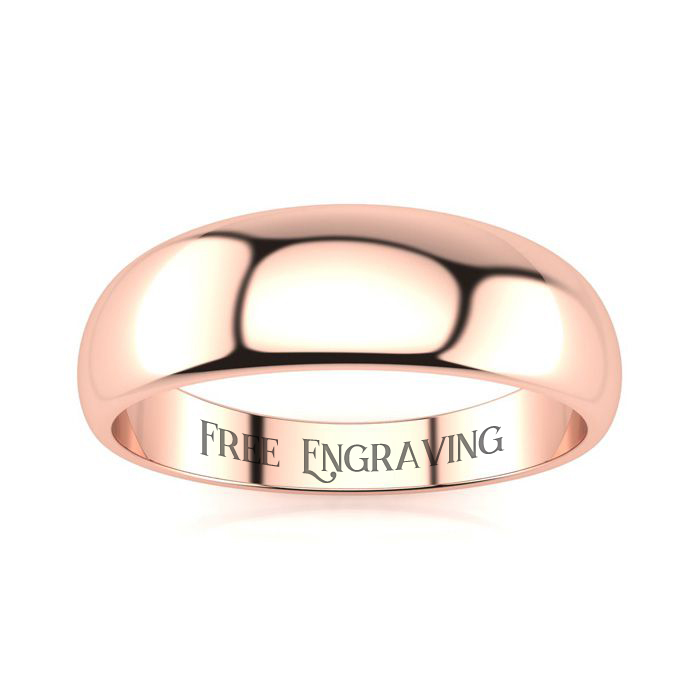 14K Rose Gold (4 g) 6MM Heavy Tapered Ladies & Mens Wedding Band,