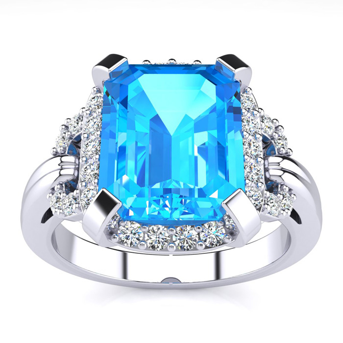 Interlocking 3.25 Carat Blue Topaz & Diamond Ring in 14k White Gold (5.7 g), I/J by SuperJeweler