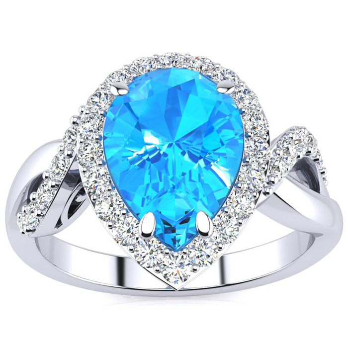 2 1/2ct Pear Shape Blue Topaz and Diamond Ring in 14K White Gold