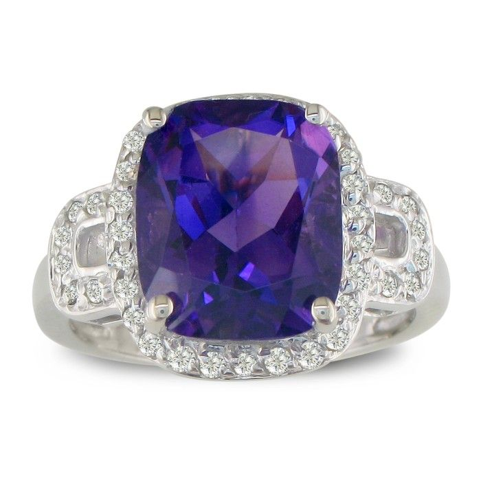 4 Carat Cushion Cut Amethyst & Diamond Ring, 14k White Gold (6.4