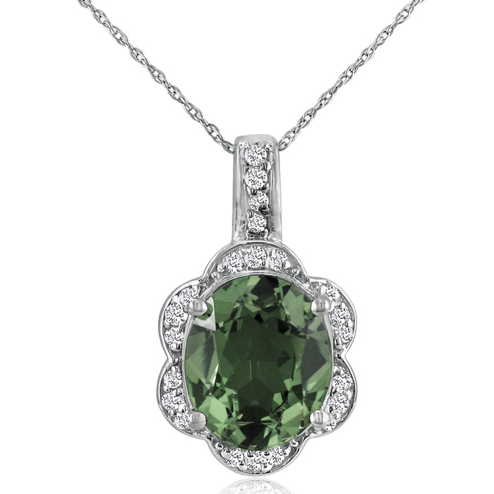 Large 4 Carat Oval Green Amethyst & Diamond Pendant Necklace in 14k White Gold (4.8 g), I/J, 18 Inch Chain by SuperJeweler