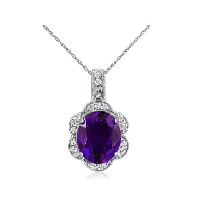 Large 4 Carat Oval Amethyst & Diamond Pendant Necklace Set in 14k White Gold (4.8 g), I/J, 18 Inch Chain by SuperJeweler
