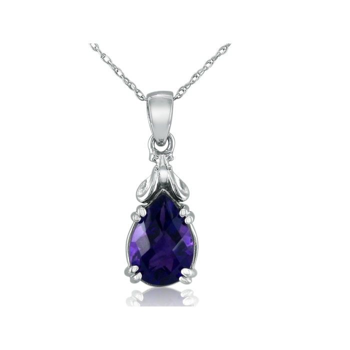 Amethyst Mouse Pendant Necklace in 10k White Gold (2.3 g), 18 Inc