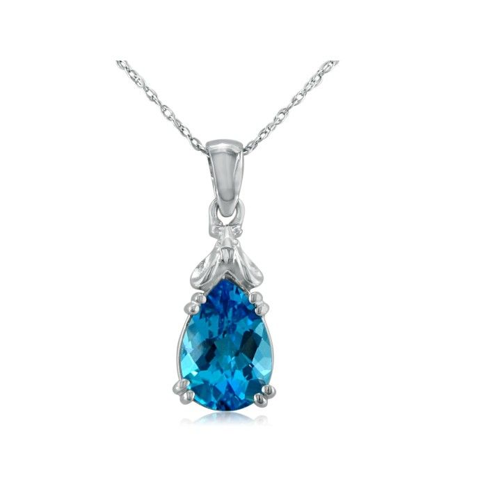 Blue Topaz Mouse Pendant Necklace in 10k White Gold (2.3 g), I/J,