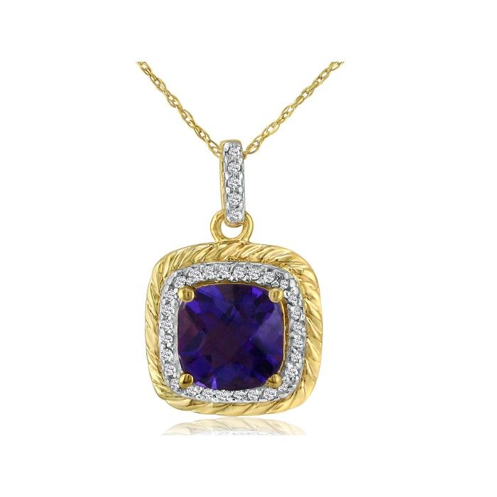 Rope Design Amethyst & Diamond Pendant Necklace in 14k Yellow Gold (2.9 g), I/J, 18 Inch Chain by SuperJeweler