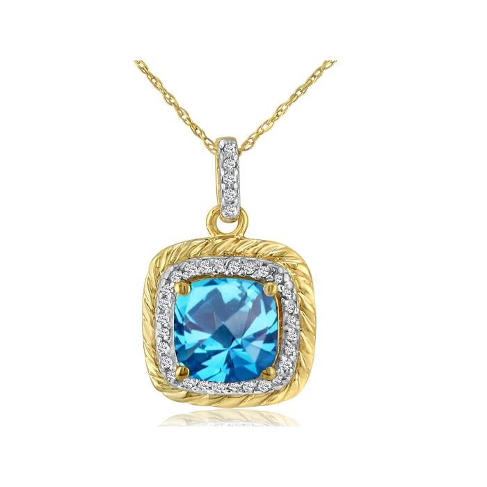 Rope Design Blue Topaz & Diamond Pendant Necklace in 14k Yellow G