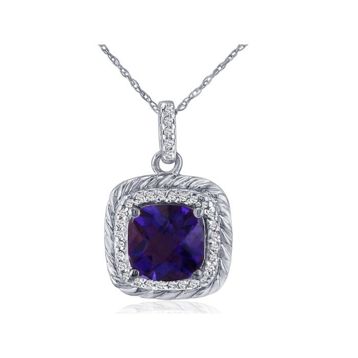 Rope Design Amethyst & Diamond Pendant Necklace in 14k White Gold