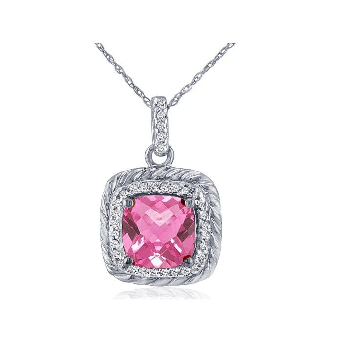 Rope Design Pink Topaz & Diamond Pendant Necklace in 14K White Go