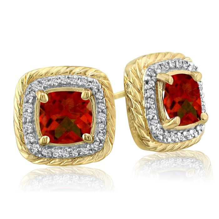 Rope Design Garnet & Diamond Earrings in 14k Yellow Gold (4 g), I
