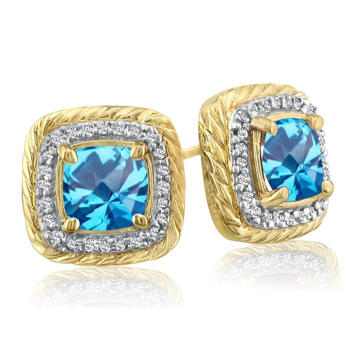 Rope Design Blue Topaz & Diamond Earrings in 14k Yellow Gold (4 g