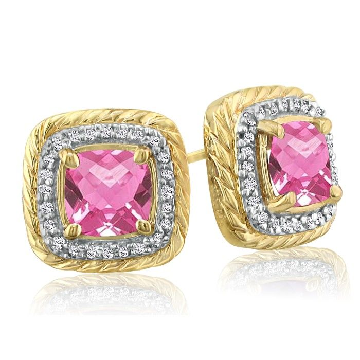 Rope Design Pink Topaz & Diamond Earrings in 14k Yellow Gold (4 g