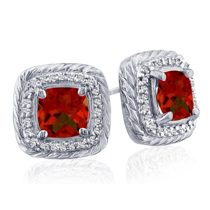 Rope Design Garnet & Diamond Earrings in 14k White Gold (4 g), I/