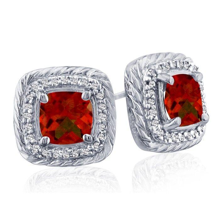 Rope Design Garnet & Diamond Earrings in 14k White Gold (4 g), I/J by SuperJeweler