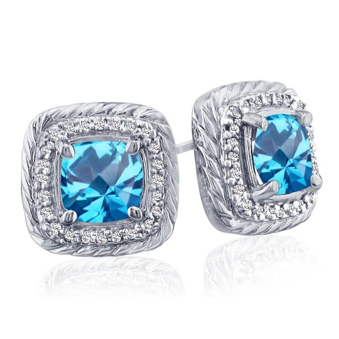 Rope Design Blue Topaz & Diamond Earrings in 14k White Gold (4 g)