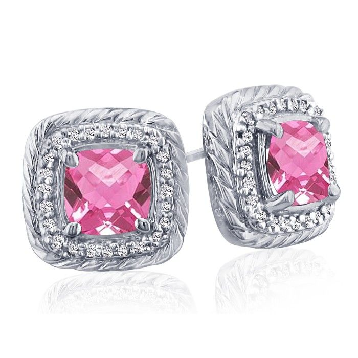 Rope Design Pink Topaz & Diamond Earrings in 14k White Gold (4 g)