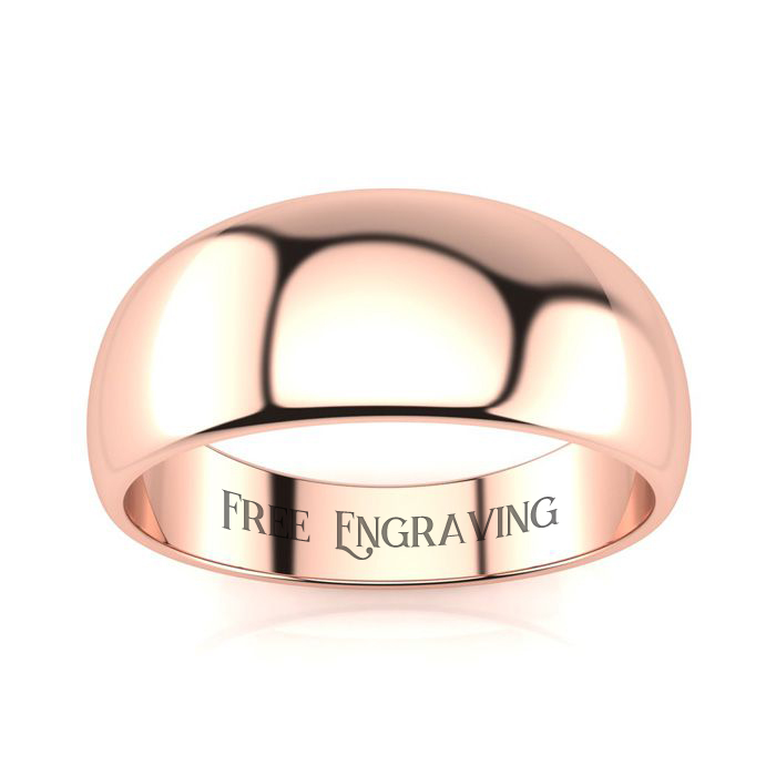 18K Rose Gold (7 g) 8MM Heavy Tapered Ladies & Mens Wedding Band,