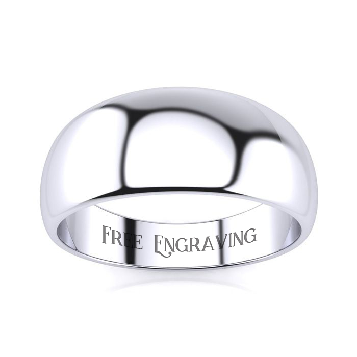 18K White Gold (6 g) 8MM Heavy Tapered Ladies & Mens Wedding Band, Size 7.5, Free Engraving by SuperJeweler