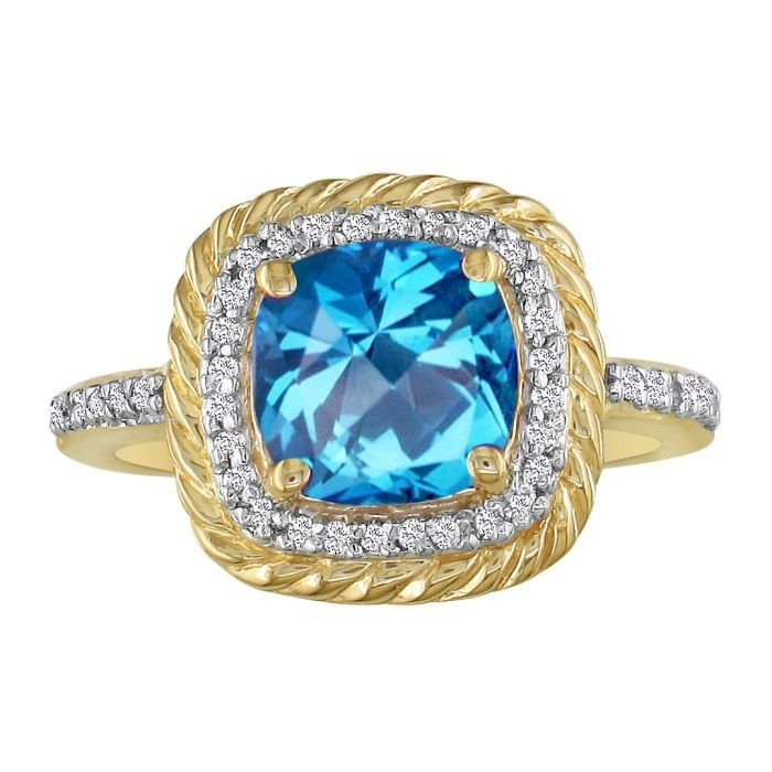 Image of Rope Design Blue Topaz and Diamond Ring in 14k Yellow Gold