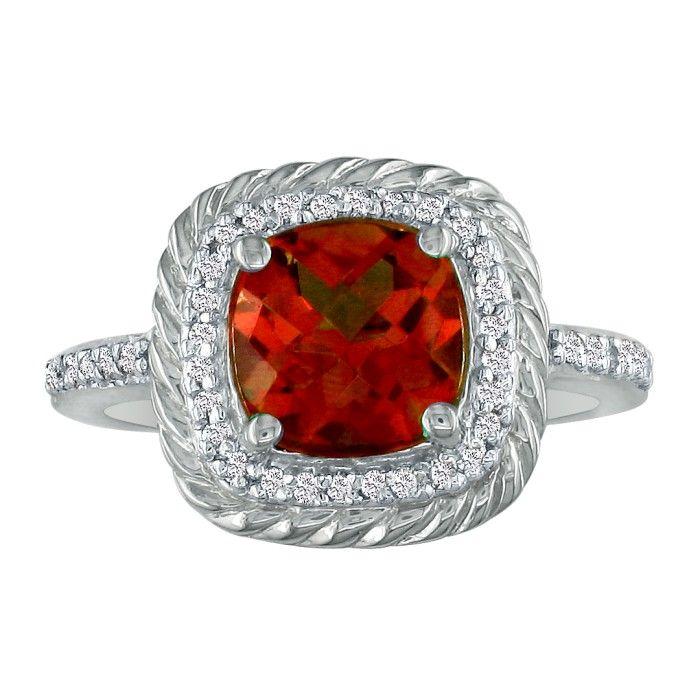 Rope Design Garnet and Diamond Ring in 14k White Gold