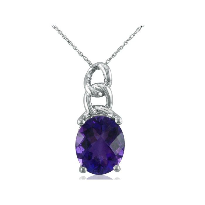 Chain Look 4 Carat Amethyst Pendant Necklace in 10k White Gold (3