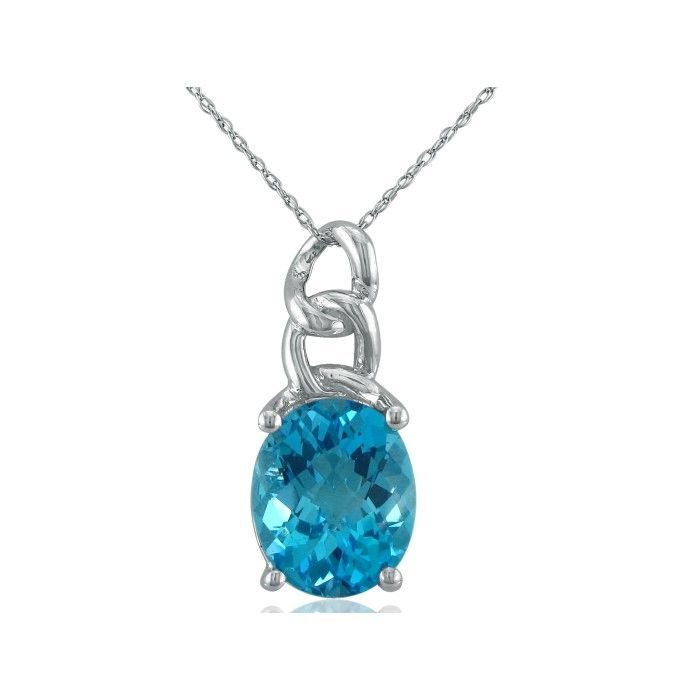 Chain Look 4 Carat Blue Topaz Pendant Necklace in 10k White Gold