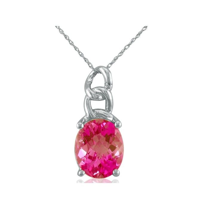 Chain Look 4 Carat Pink Topaz Pendant Necklace in 10k White Gold