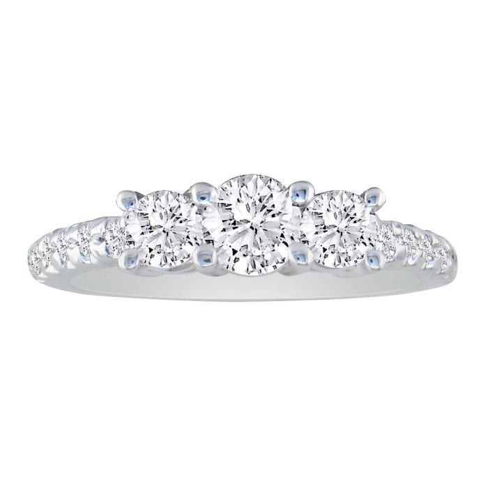 1ct Three Diamond Ring Bridal Set in 14k White Gold, Diamonds on the Band