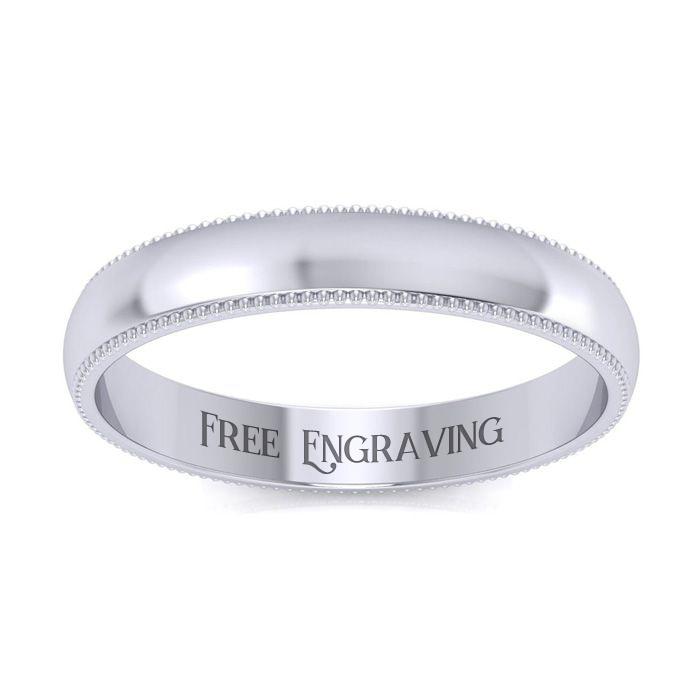 Platinum 3MM Comfort Fit Milgrain Ladies & Mens Wedding Band, Size 9, Free Engraving by SuperJeweler