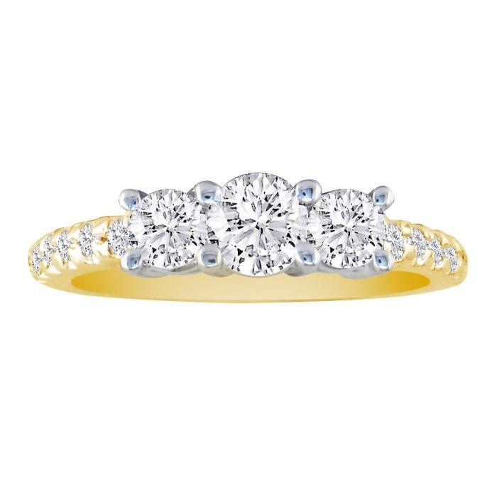 1 Carat Three Diamond Ring Bridal Ring Set in 14k Yellow Gold (5.5 g), Diamonds on the Wedding Band (H-I, SI2-I1) by SuperJeweler
