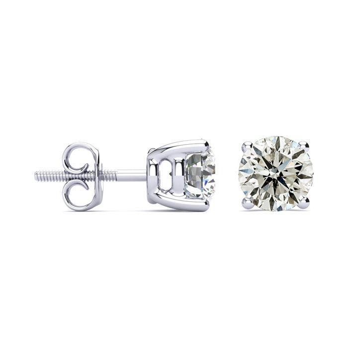 2 Carat Classic Quality Diamond Stud Earrings in 14k White Gold,