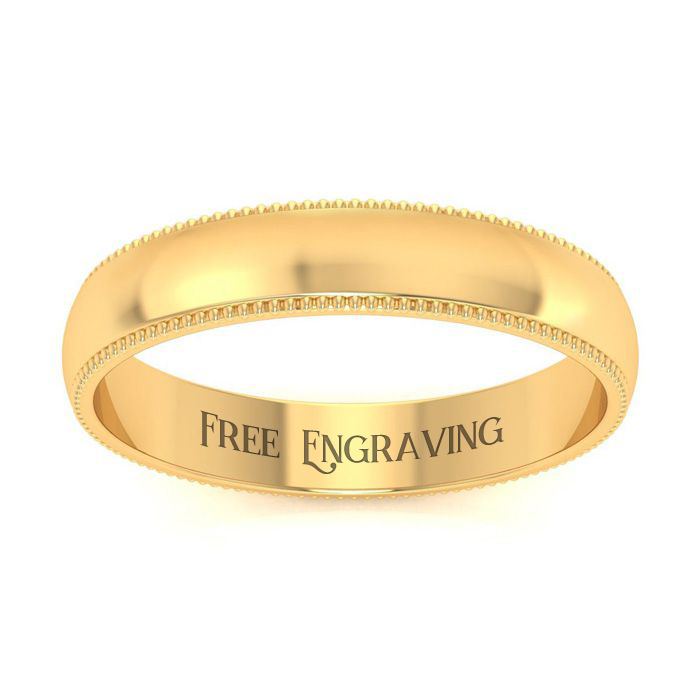 14K Yellow Gold 4MM Comfort Fit Milgrain Ladies and Mens Wedding Band, Size ..