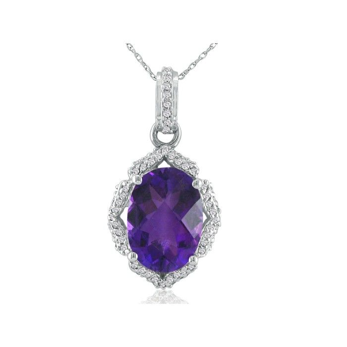 Enormous Amethyst & Diamond Pendant Necklace in 14k White Gold (6 g), , 18 Inch Chain by SuperJeweler