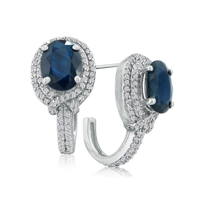 6 1/2 Carat Statement Style Sapphire & Diamond Earrings, 14k Whit