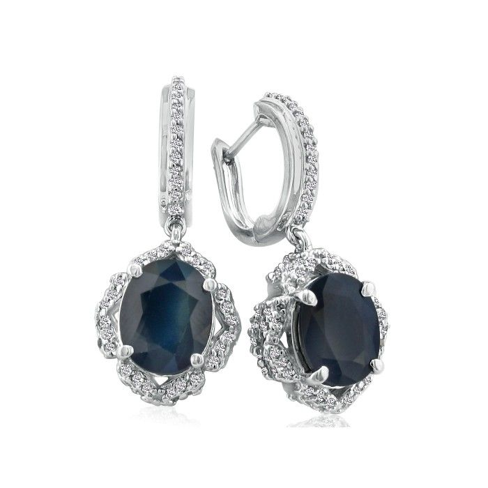 6 1/3 Carat Dangle Sapphire & Diamond Hoop Earrings in 14k White Gold (9.5 g), I/J by SuperJeweler