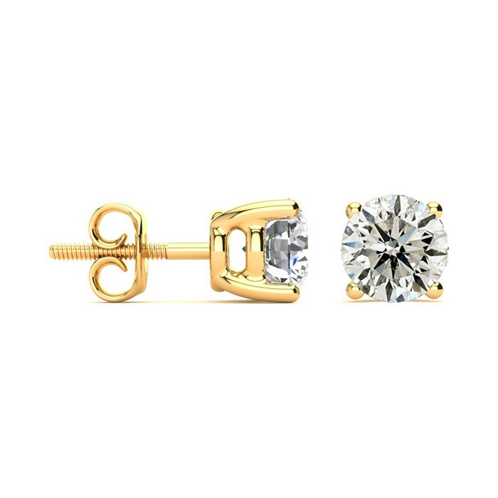 2 Carat Classic Quality Diamond Stud Earrings in 14k Yellow Gold,