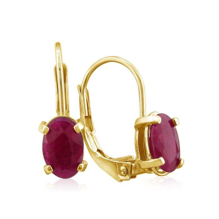 1.25 Carat Leverback Oval Ruby Earrings in 14k Yellow Gold (1 g) by SuperJeweler
