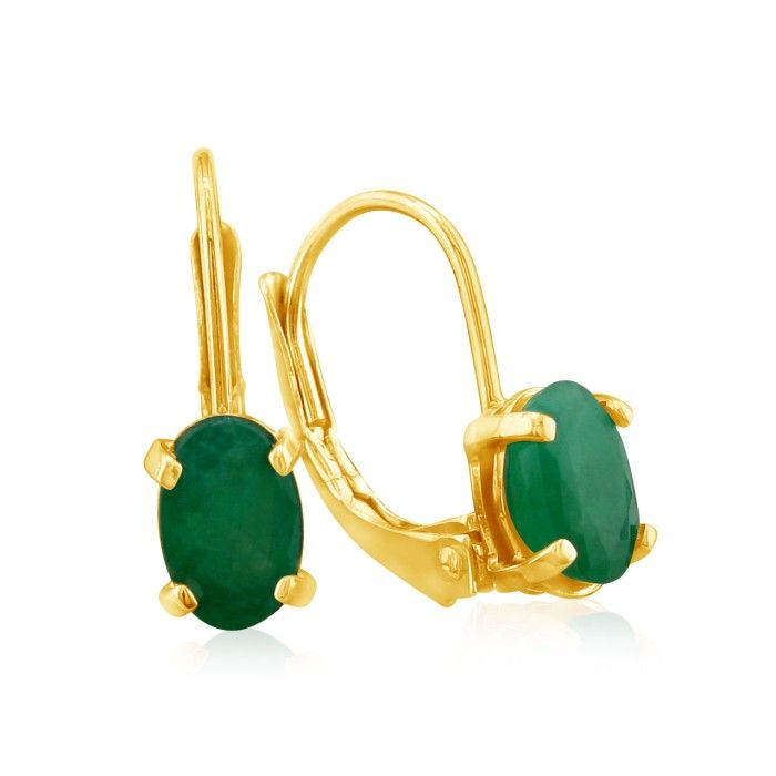 1.25 Carat Oval Emerald Drop Earrings in 14k Yellow Gold (1 g) by