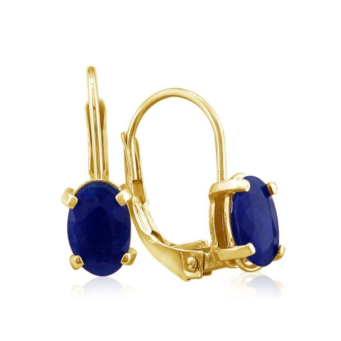 1.25 Carat Leverback Oval Sapphire Earrings in 14k Yellow Gold (1 g) by SuperJeweler