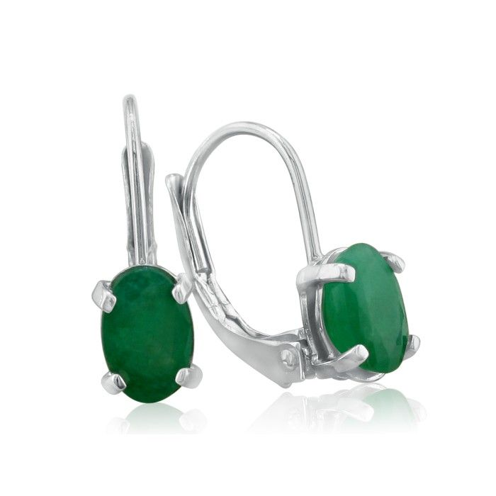 1.25 Carat Oval Emerald Drop Earrings in 14k White Gold (1 g) by