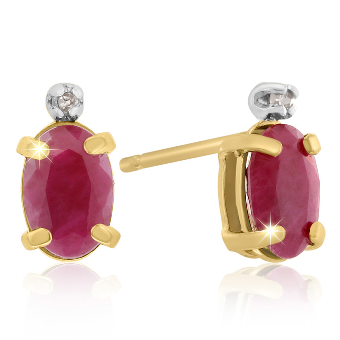 1.25 Carat Oval Ruby & Diamond Earrings in 14k Yellow Gold (0.7 g), J/K by SuperJeweler