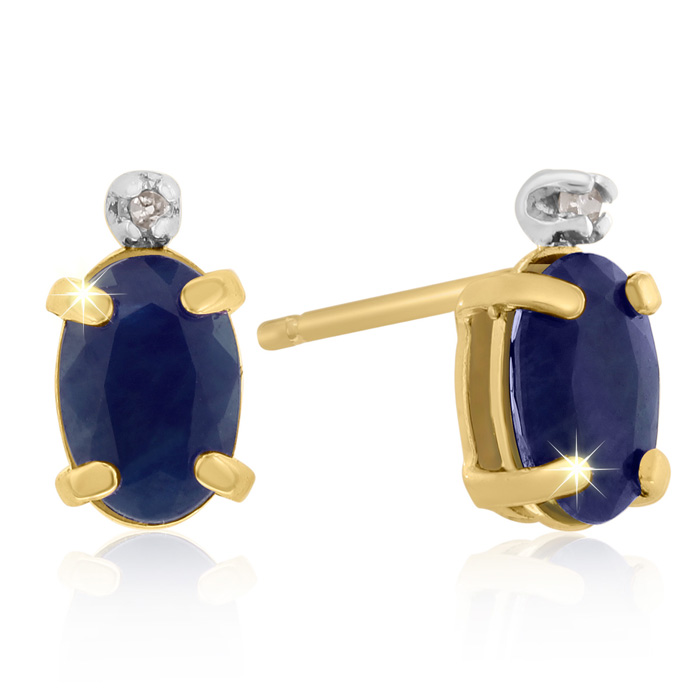 1.25 Carat Oval Sapphire & Diamond Earrings in 14k Yellow Gold (0