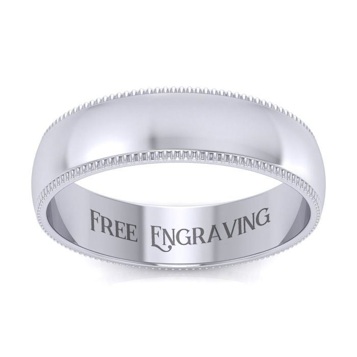 10K White Gold 5MM Comfort Fit Milgrain Ladies and Mens Wedding Band, Size 10.5, Free Engraving